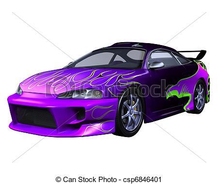 Clipart of Purple Sports Car.