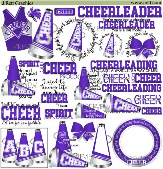 Cheer clipart, MORE COLORS, 50+ graphics, purple white cheer.