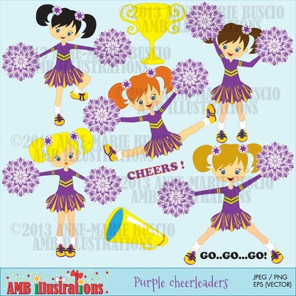 Purple cheerleaders clipart by AMBillustrations on.