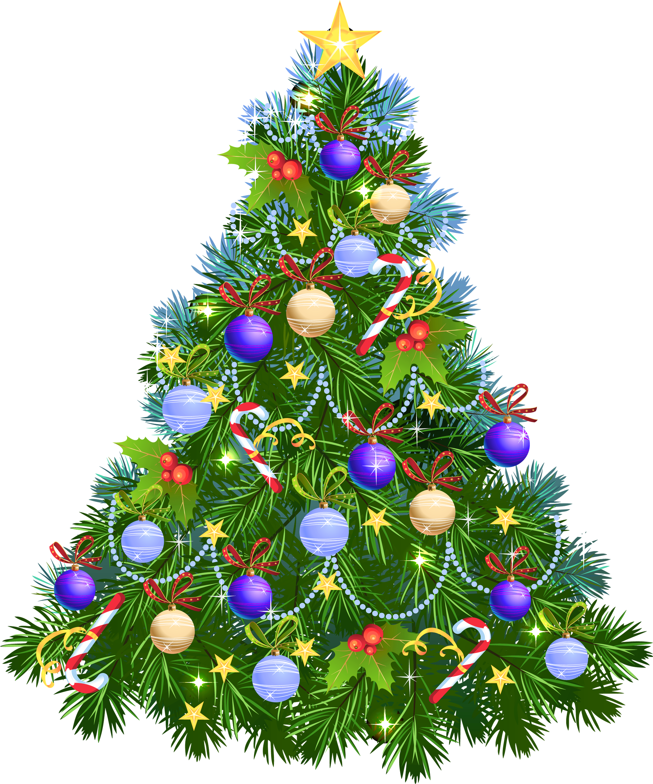 Transparent PNG Christmas Tree with Purple Ornaments.