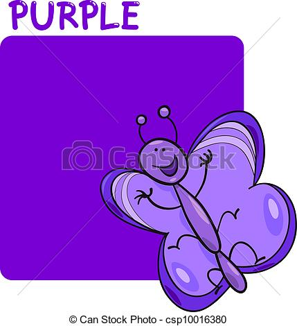 Vector of Color Purple and Butterfly Cartoon.