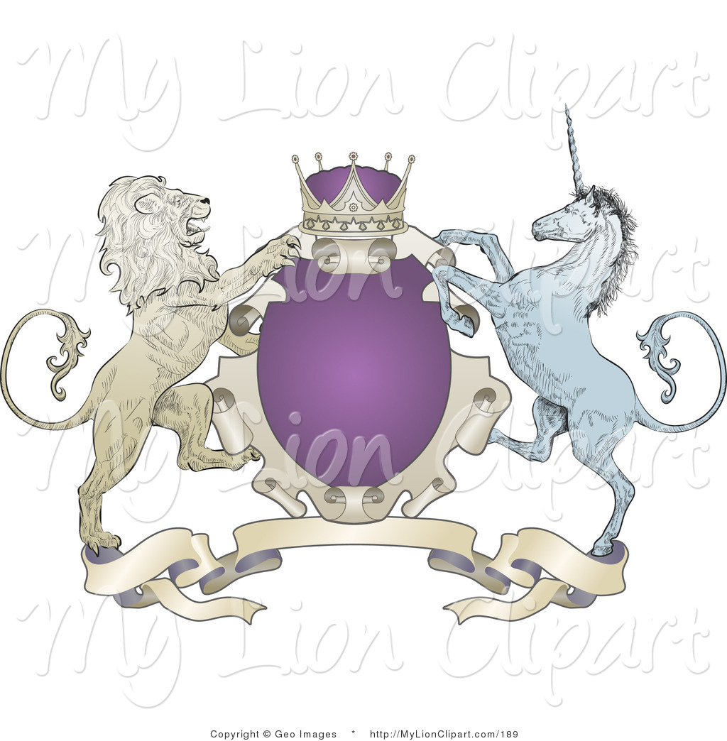 Clipart of a Purple Crown, Lion, and Blue Unicorn on a Purple Coat.