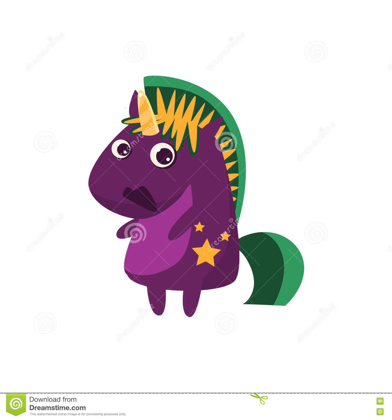 Purple Unicorn With Green Crest Stock Vector.