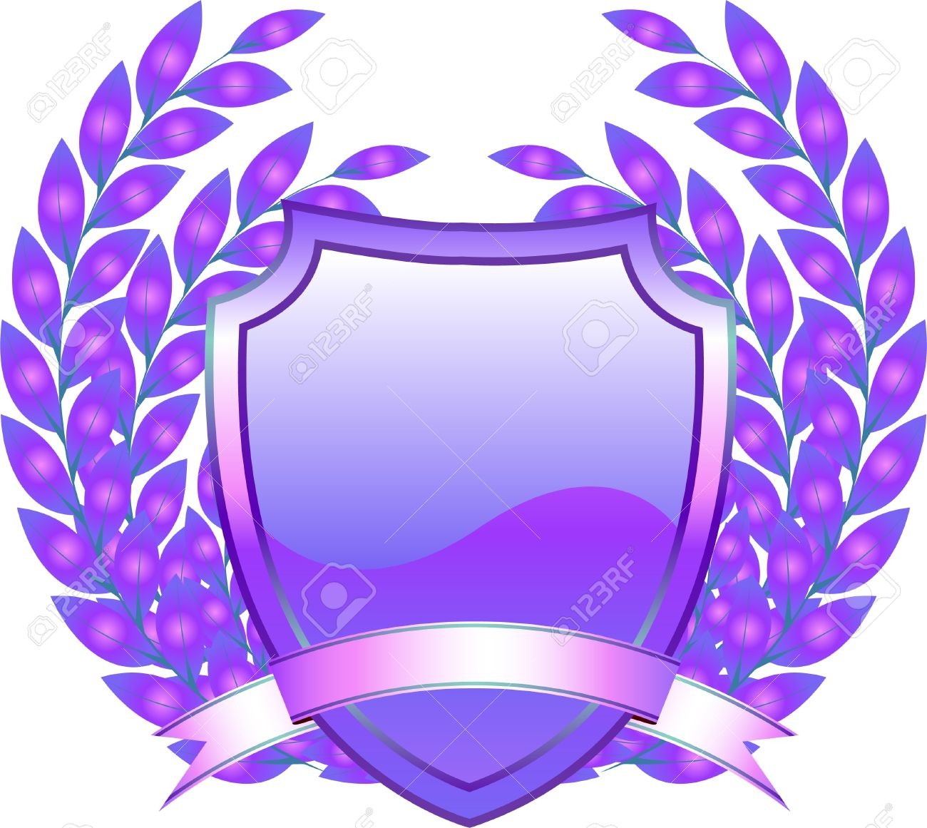 Shield Design With Plant And Decoration Purple Royalty Free.