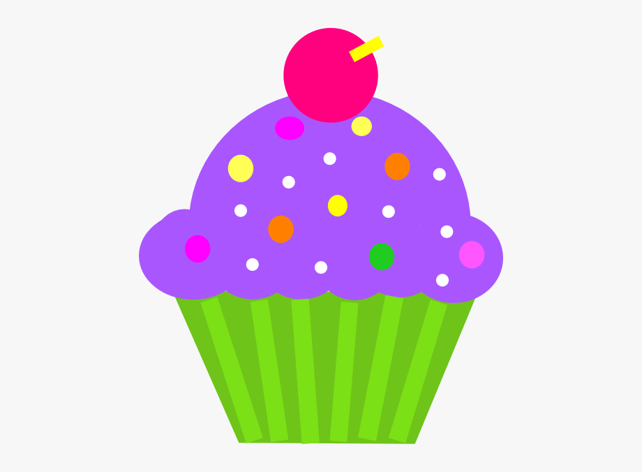 Cupcake Purple And Lime Clip Art.