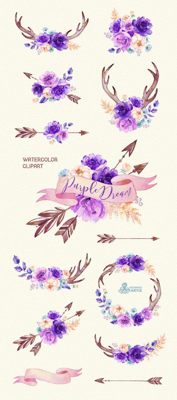 Purple Dream. Watercolor floral Clipart, peony, arrows, antlers.