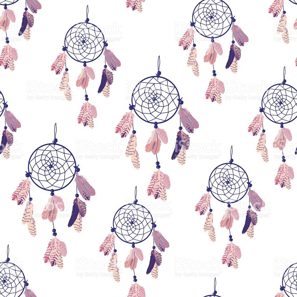 Purple Dream Catcher Seamless Vector Print stock vector art.