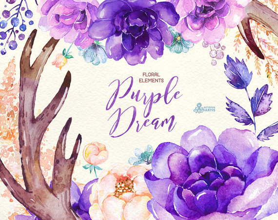 Purple Dream. Watercolor floral Elements peony by OctopusArtis.