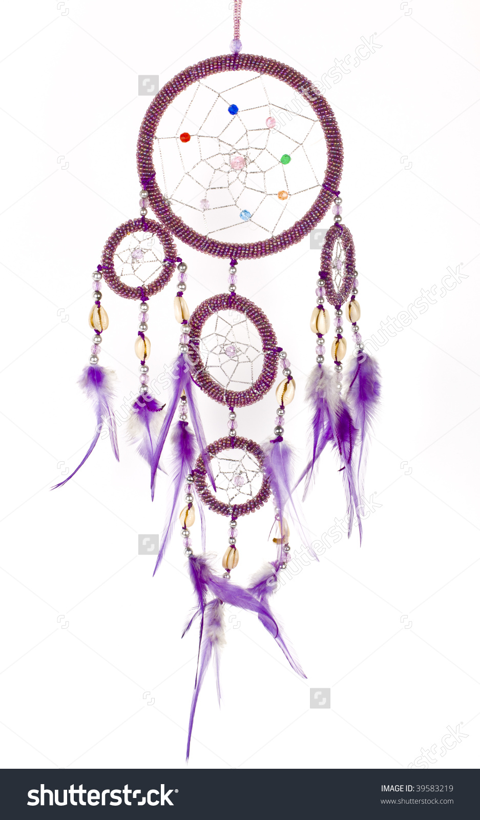 Indian Native American Purple Dream Catcher With Shiny Beads.