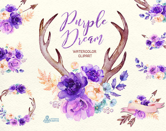 Purple Dream. Watercolor floral Clipart peony by OctopusArtis.