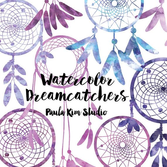 Purple Dream Catcher Watercolor Clipart by PaulaKimStudio on Etsy.