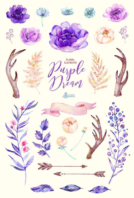 Purple Dream. Watercolor floral Elements, peony, arrows, antlers.