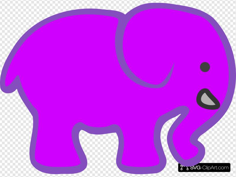 Invert Purple Pink Elephant Clip art, Icon and SVG.