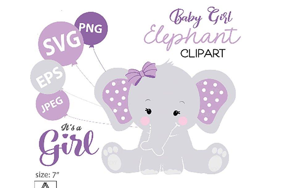 Purple Elephant SVG, clip art,.