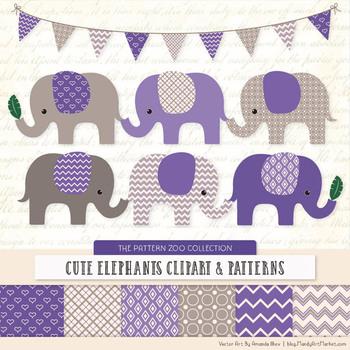 Pattern Zoo Vector Elephants Clipart & Digital Papers in Purple.
