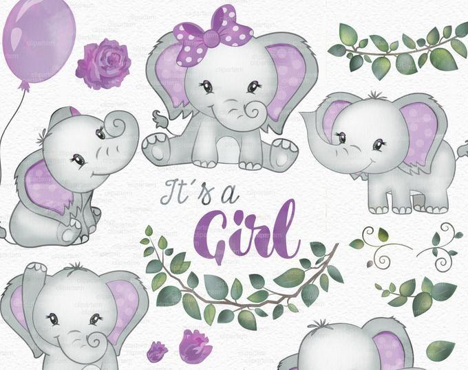 Elephant girl clip art, watercolor. Watercolor Baby Elephant.