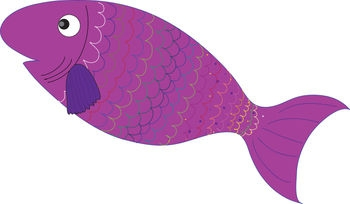 Cute Purple Fish Clipart.