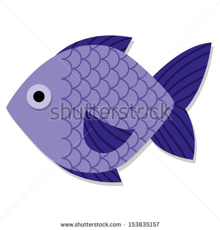 Vector Cute Cartoon Purple Fish Isolated Icon.