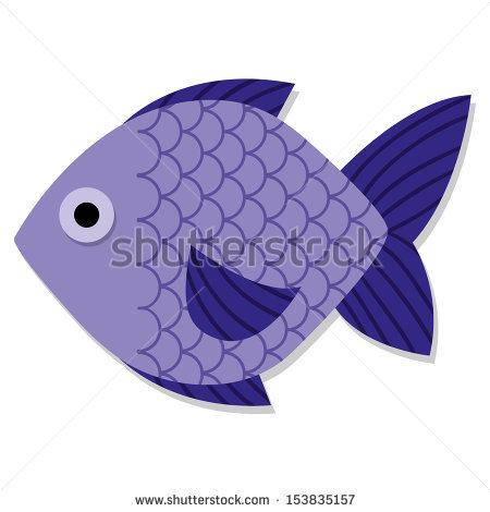 Vector Cute Cartoon Purple Fish Isolated Icon.