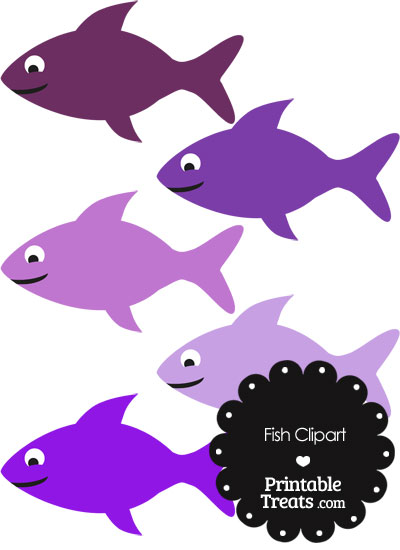 Fish Clipart in Shades of Purple — Printable Treats.com.