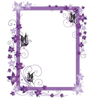Purple Flower Borders and Frames.