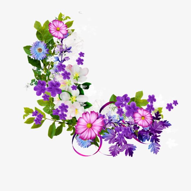 Bouquet of purple flowers border PNG clipart.
