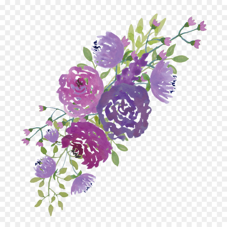 Purple Watercolor Flower clipart.