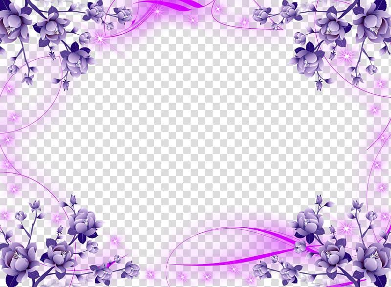 Purple petaled flowers border illustration, Borders and.