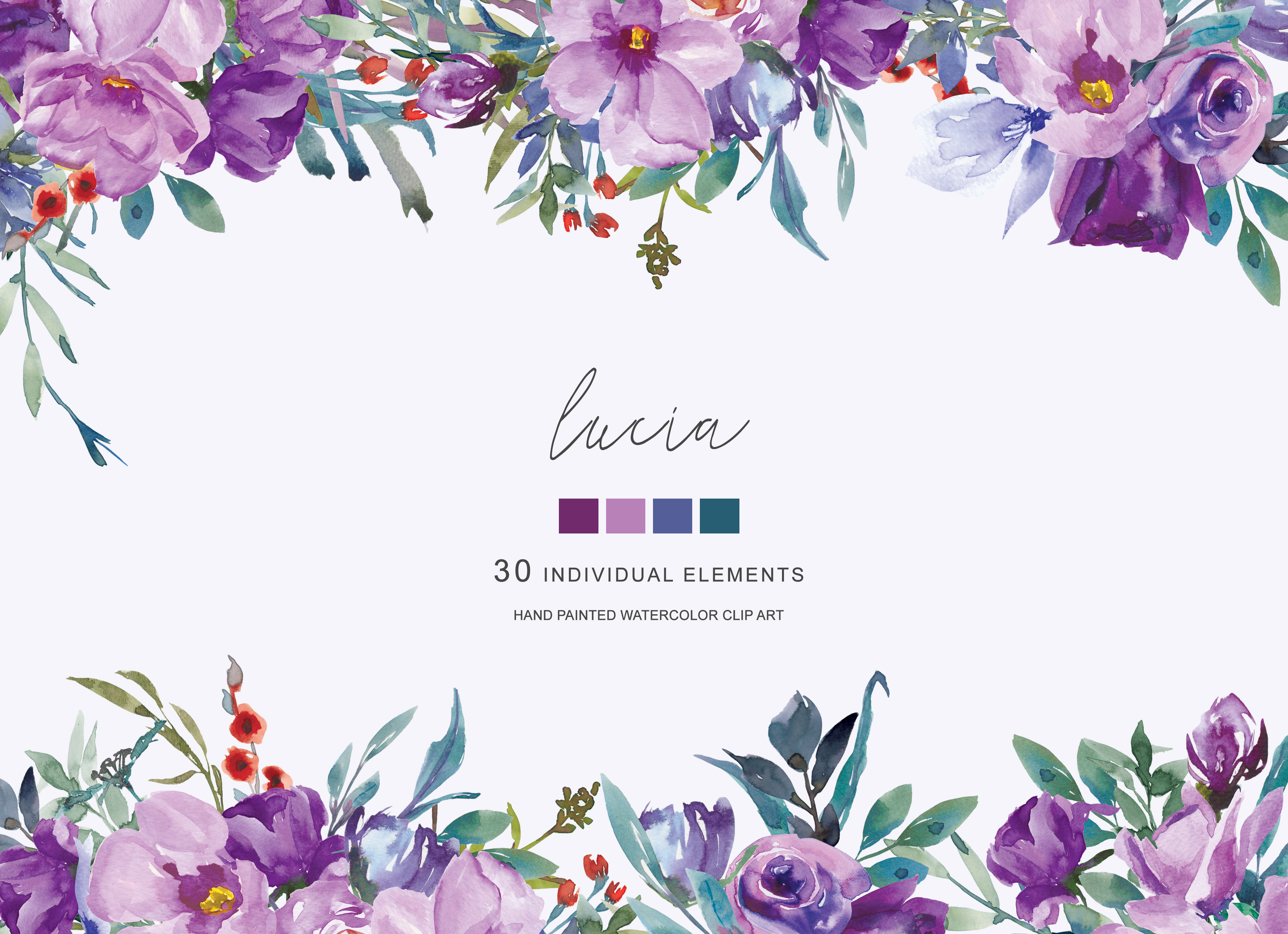 Watercolor Purple Flowers Clipart Hand Painted Flowers.