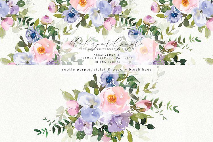 Watercolor Blush Purple Floral Clipart Collection.