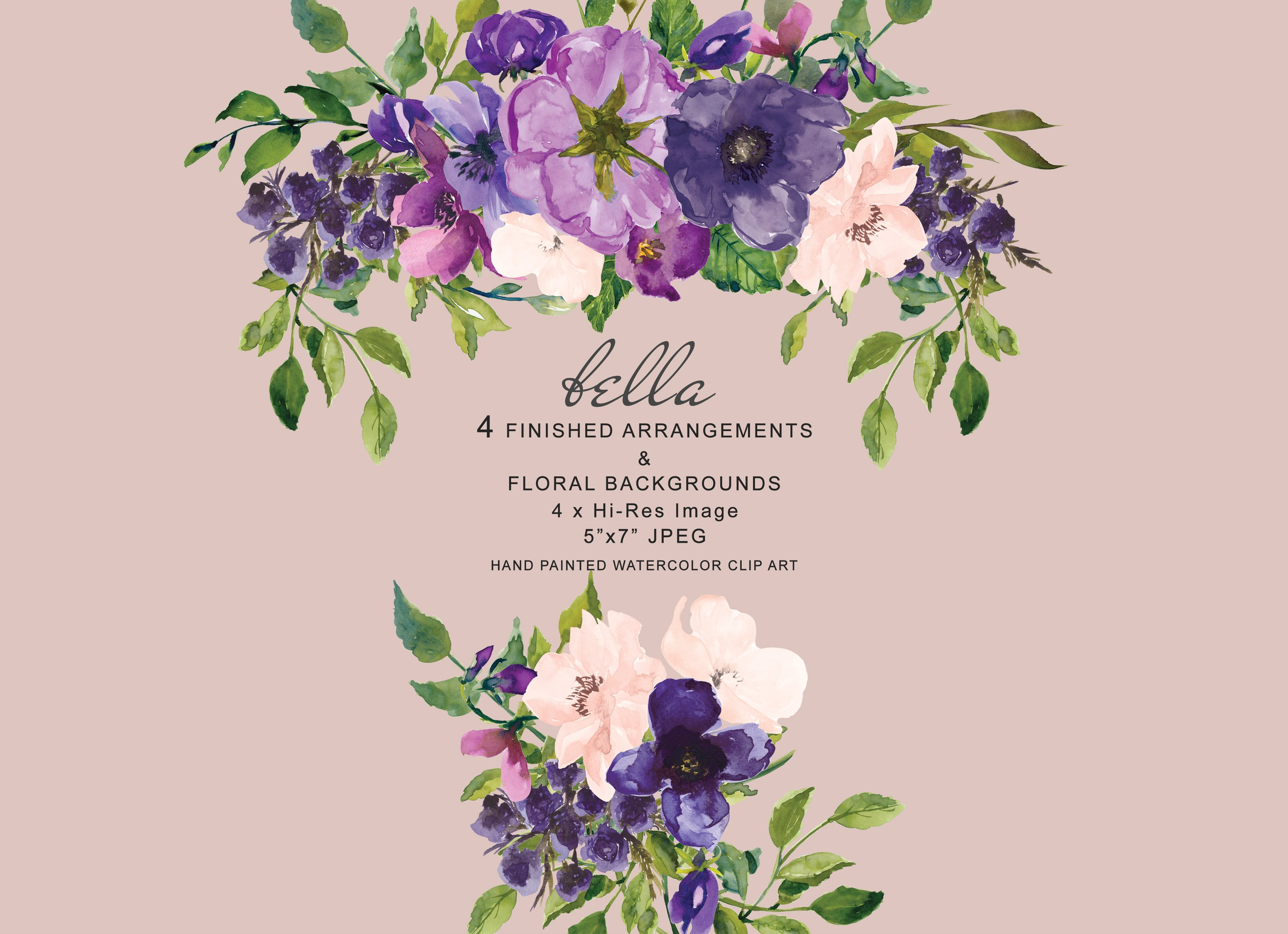 Watercolor Purple Floral Clipart.