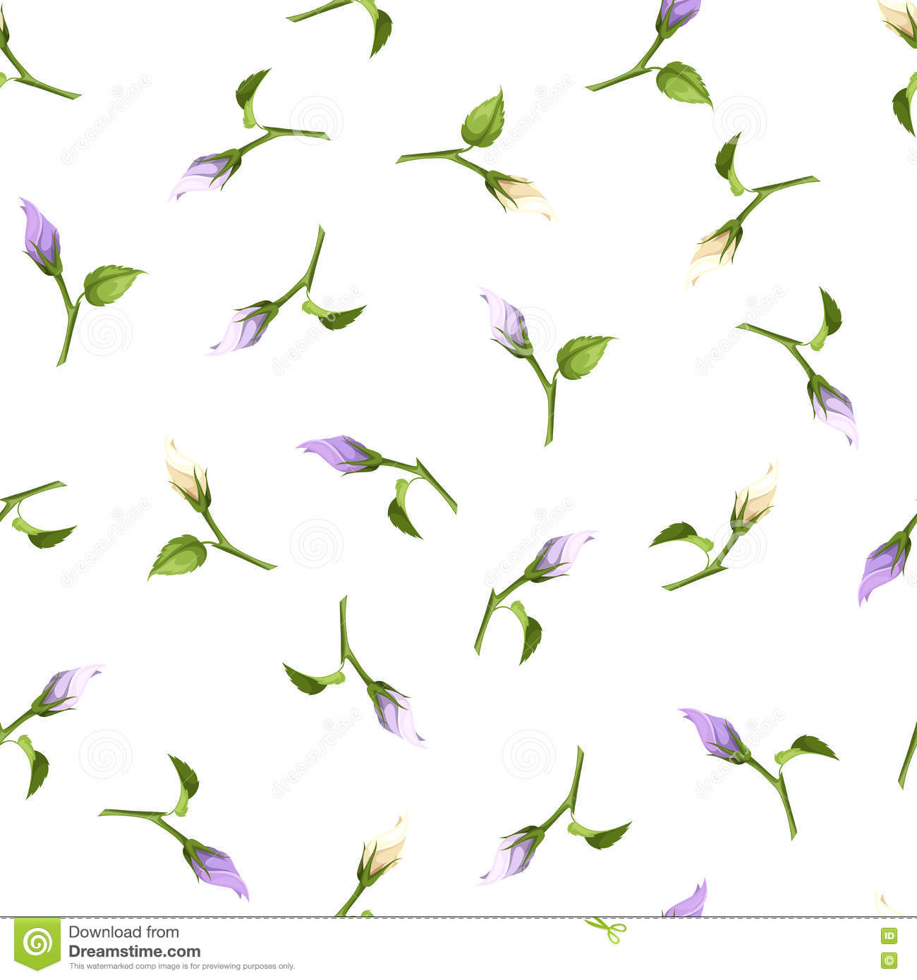 Seamless Pattern With Purple And White Flower Buds. Vector.