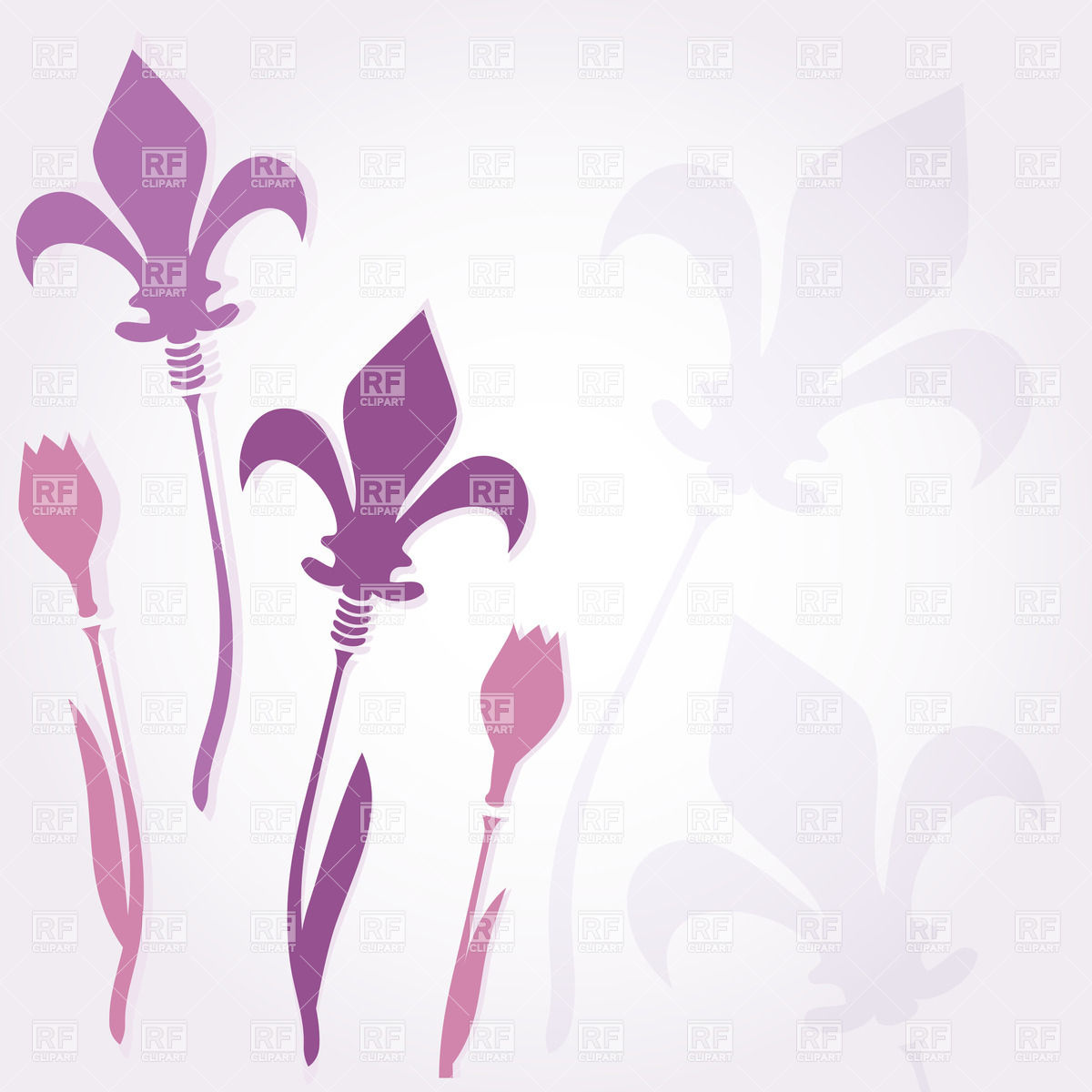 Stylized purple flowers with fleur de lys instead of bud Vector.