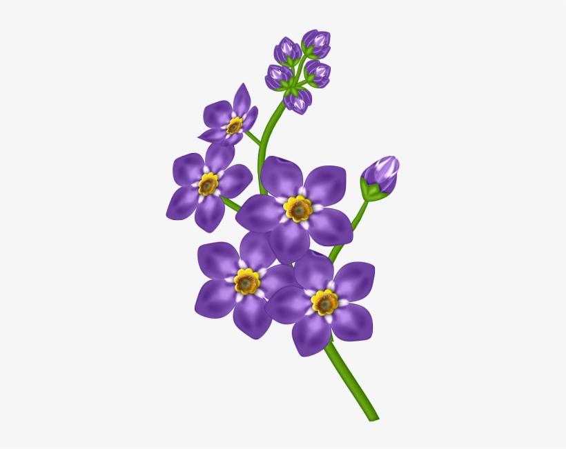 Watercolor Blue And Purple Transparent Flowers, Blue.