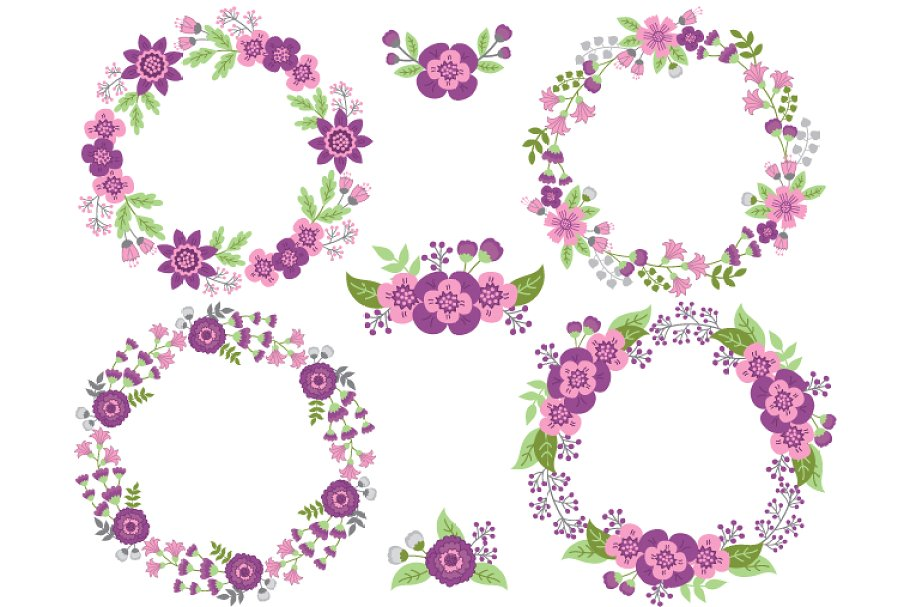 Purple and Pink Floral Wreath.