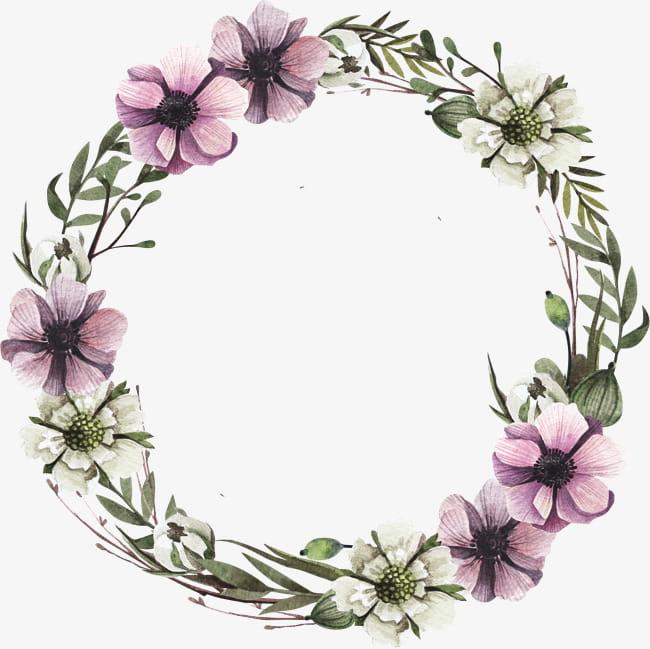 Purple flower wreath PNG clipart.