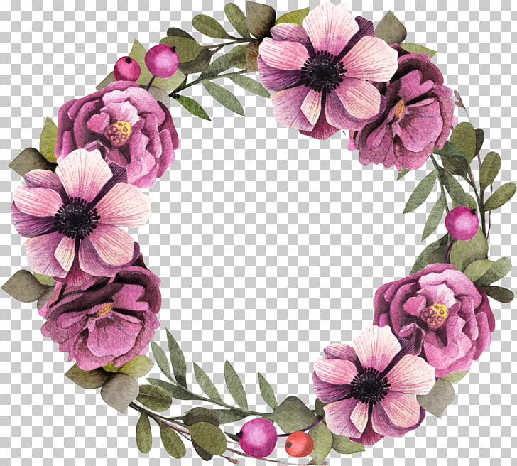 Floral design Wreath Flower Garland Purple, Purple flower.