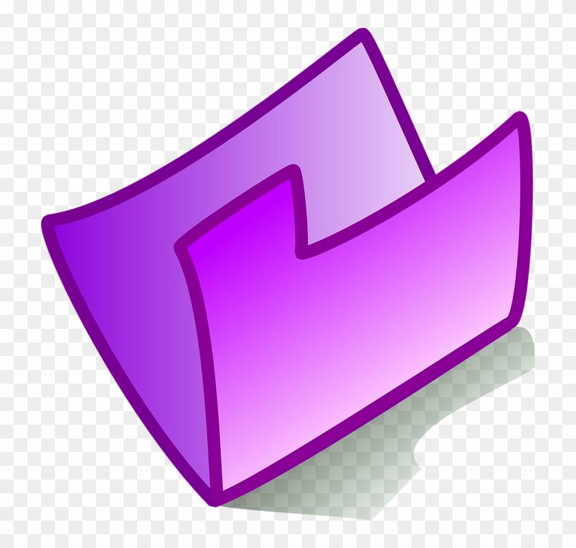 Folder Icon Purple Empty Open Symbol Sign File.