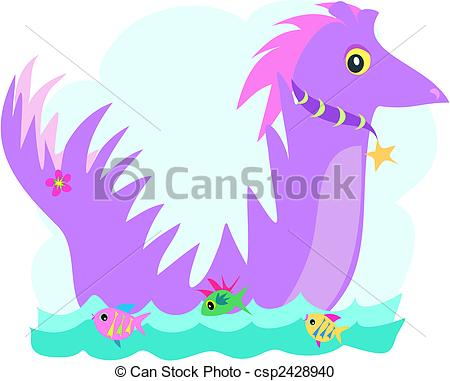 Vector Clipart of Purple Dragon with Fish Friends.