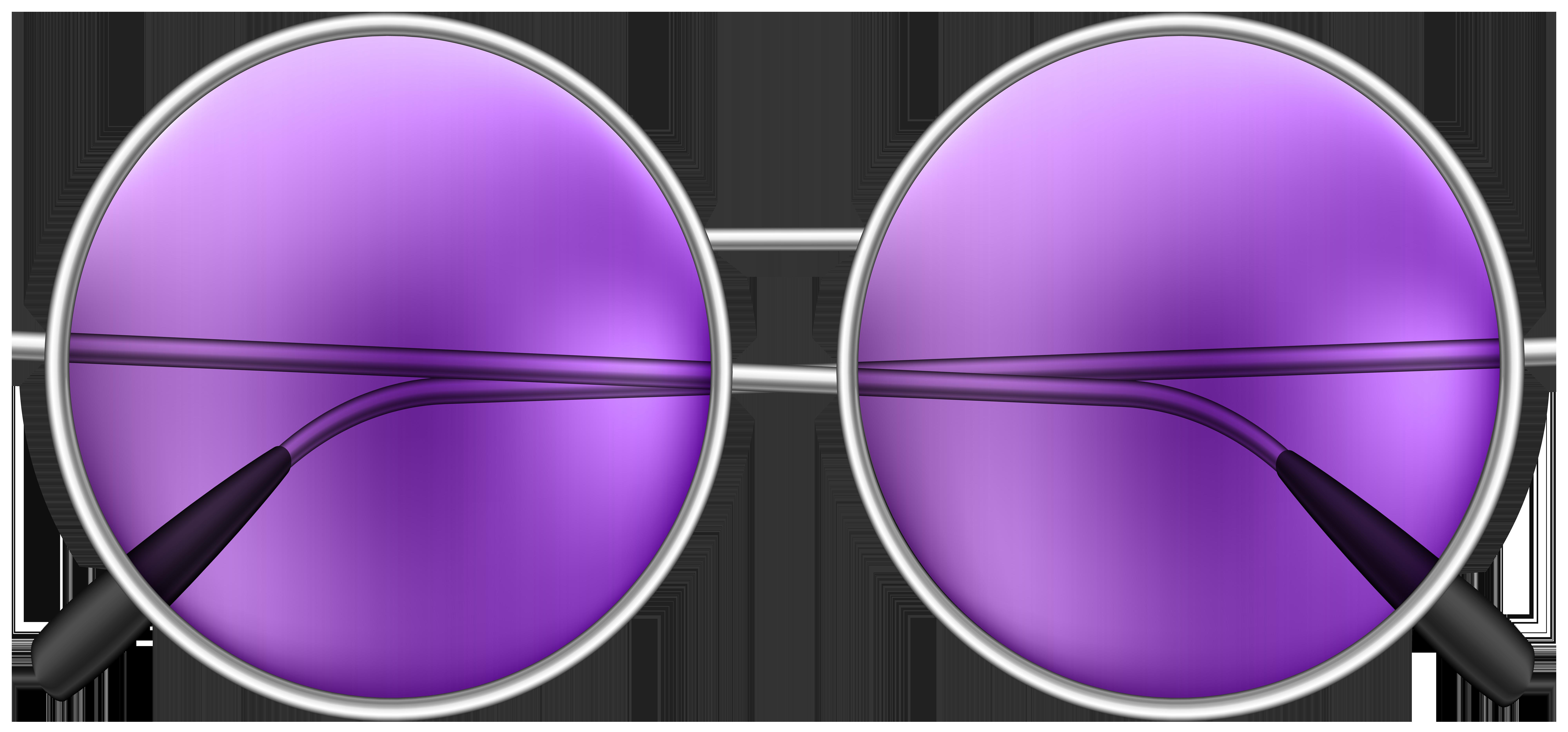 Round Sunglasses Purple PNG Clip Art Image.