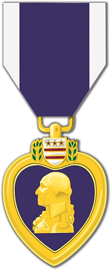 MilitaryBest Purple Heart Medal 3.8 Inch Decal (2 Pack).