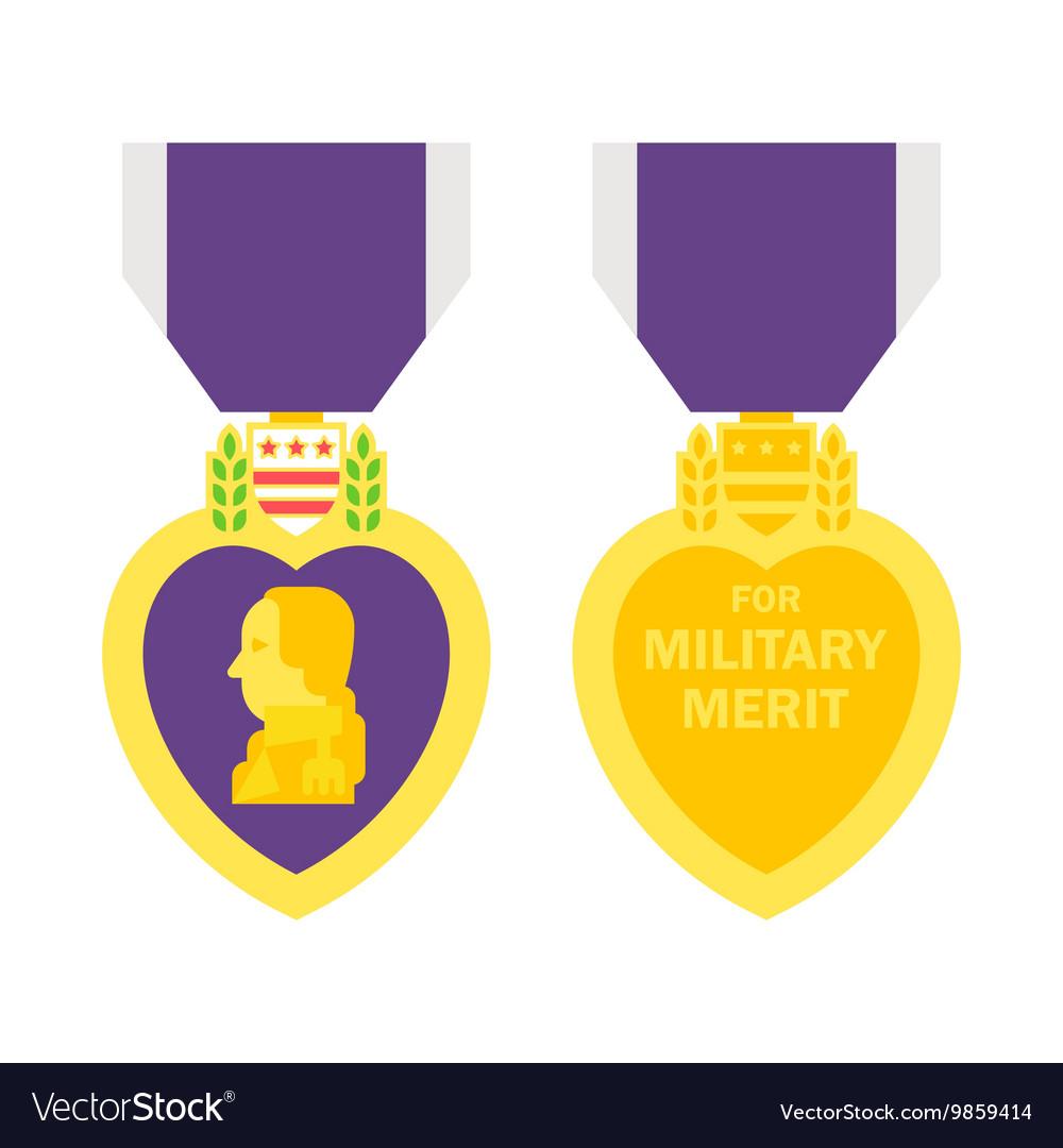Flat design purple heart medal.