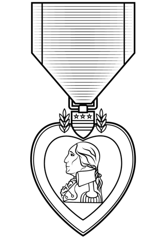 Purple Heart Medal coloring page.