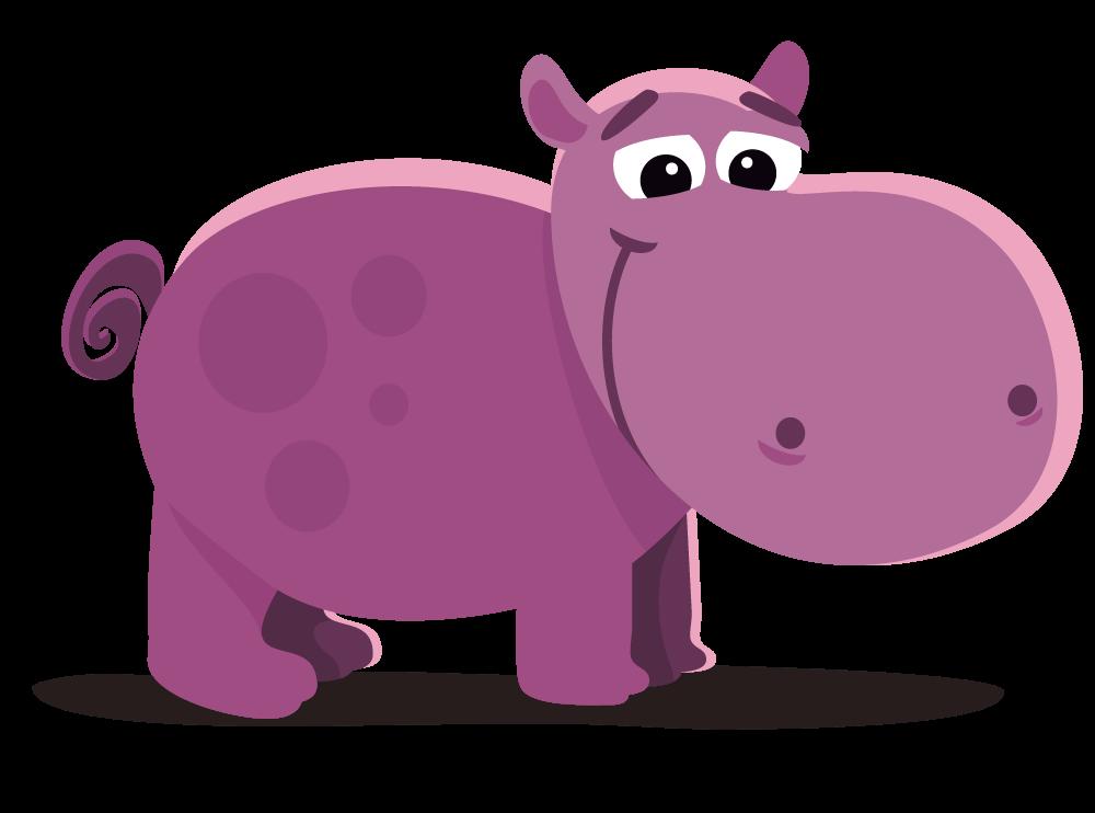 Purple Hippo Clipart.