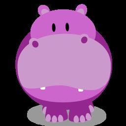 Fat Purple Hippo Icon, PNG ClipArt Image.