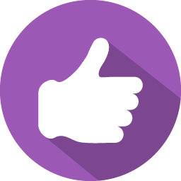 Purple thumbs up icon #31160.