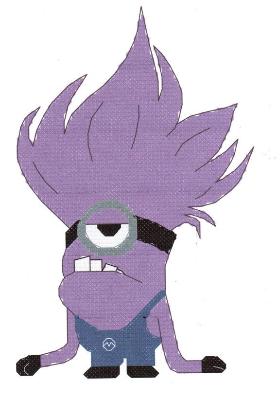 Me Minion Evil Purple Cross Stitch Pattern.