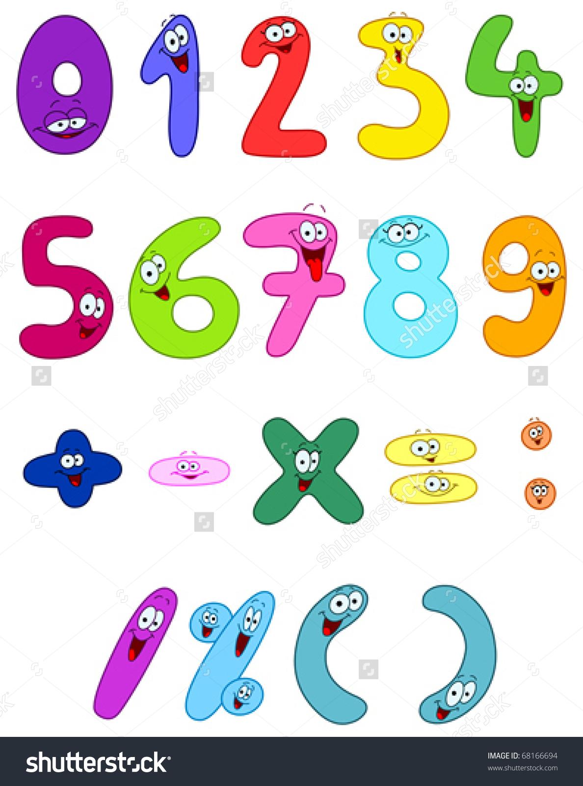 Cartoon Numbers Stock Vector 68166694.