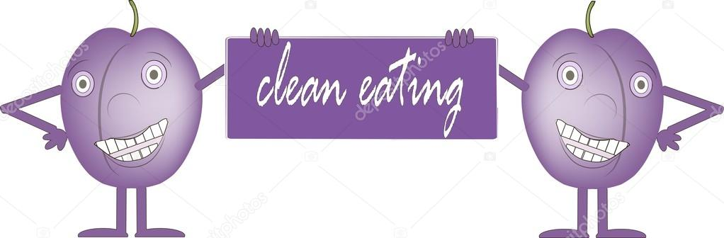 Two smiling purple plums, bord with inscription Clean food, hands.