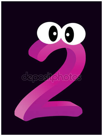 Purple two number with eyes — Stock Vector © newelle #69119081.